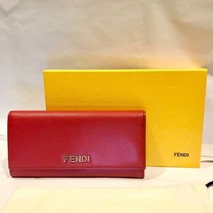 FENDI Red Leather Flap Continental Wallet